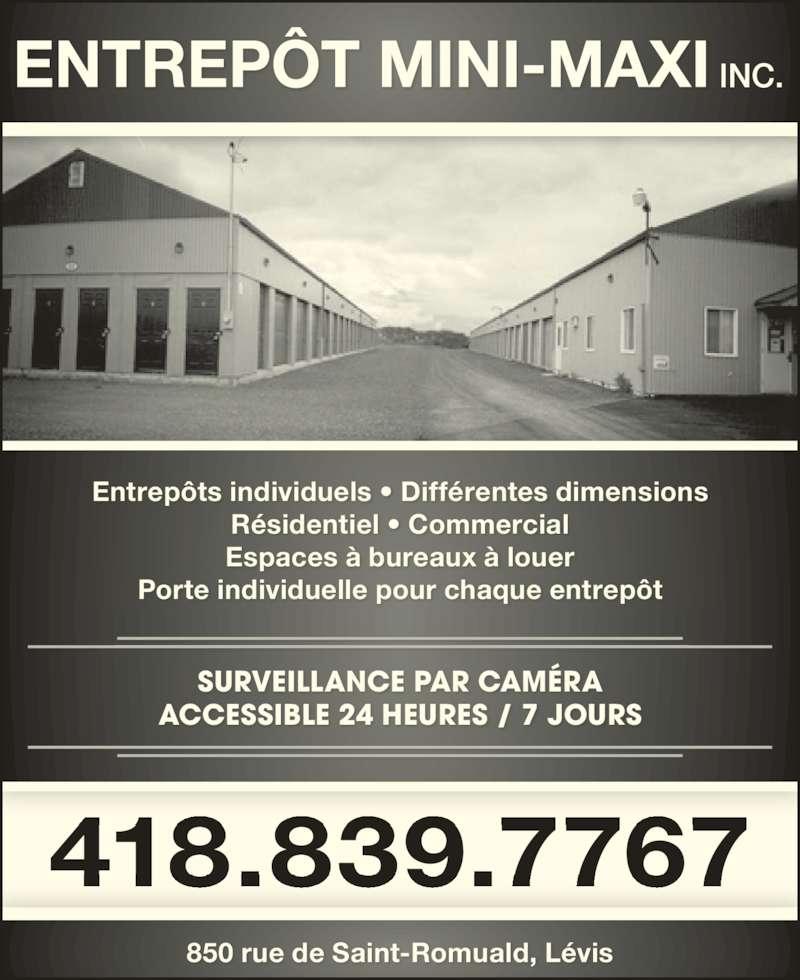 entrep t mini maxi inc horaire d 39 ouverture 850 rue de saint romuald l vis qc. Black Bedroom Furniture Sets. Home Design Ideas
