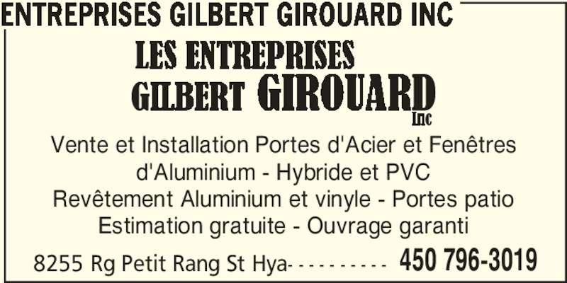 Entreprises gilbert girouard inc horaire d 39 ouverture for Porte et fenetre quebecoise st hyacinthe