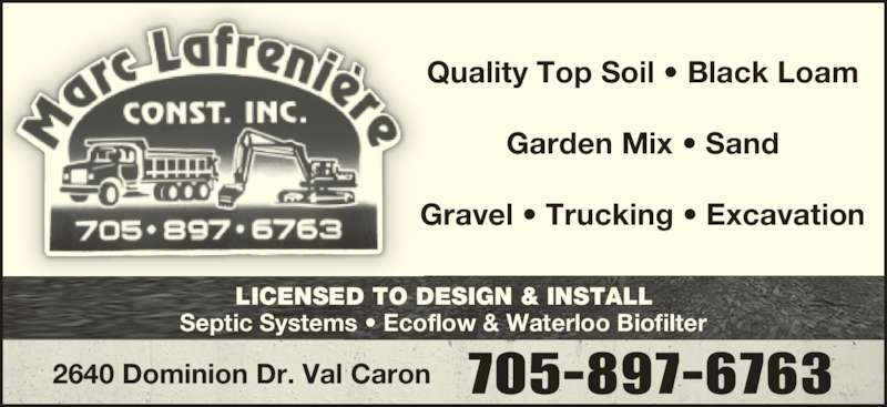 Marc lafreni re const inc 2640 dominion drive val caron on for Ecoflow septic system