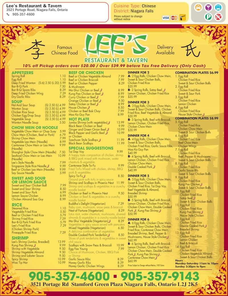 Lee s Restaurant & Tavern Menu Hours & Prices 3521