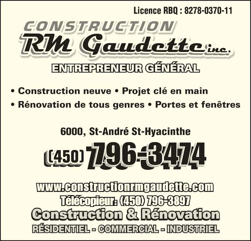Construction rm gaudette inc horaire d 39 ouverture 6000 for Porte et fenetre quebecoise st hyacinthe