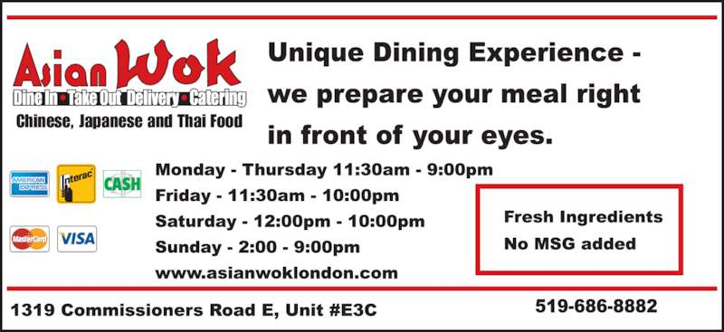 Asian Wok (519-686-8882) - Display Ad - Chinese, Japanese and Thai Food