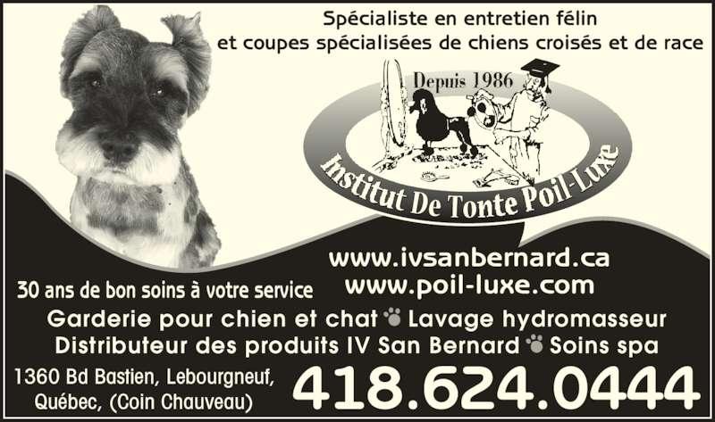 Institut De Tonte Poil-Luxe (418-624-0444) - Annonce illustrée======= - Depuis 1986 Spécialiste en entretien félin et coupes spécialisées de chiens croisés et de race www.poil-luxe.com Garderie pour chien et chat • Lavage hydromasseur Distributeur des produits IV San Bernard • Soins spa www.ivsanbernard.ca 30 ans de bon soins à votre service 418.624.04441360 Bd Bastien, Lebourgneuf,Québec, (Coin Chauveau)