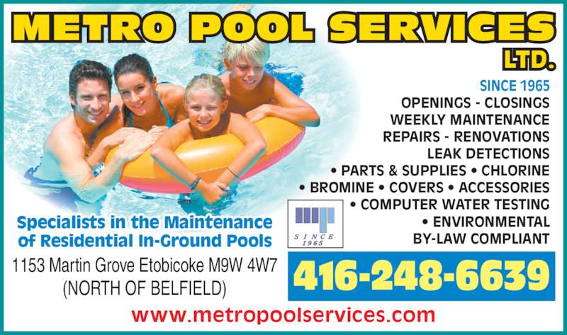 Metro Pool Services Ltd Opening Hours 1153 Martin