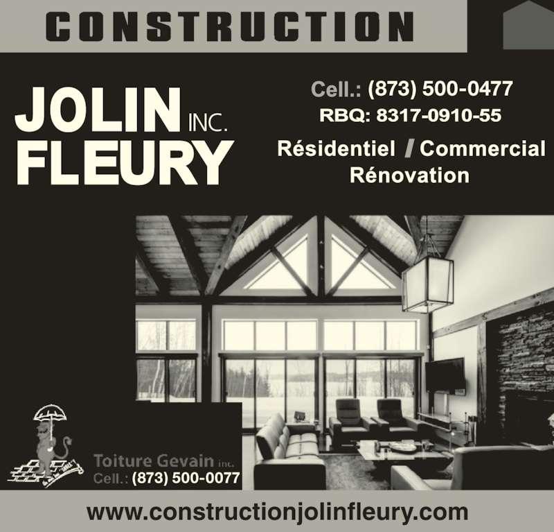 Construction Jolin Fleury Inc (819-570-7657) - Annonce illustrée======= - (873) 500-0077 INC. (873) 500-0477