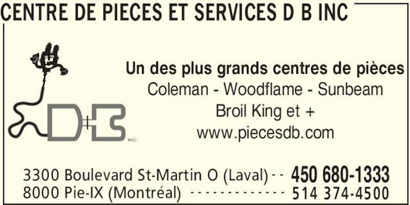 Centre de Pièces et Services D B Inc  Laval, QC  3300 boul Saint