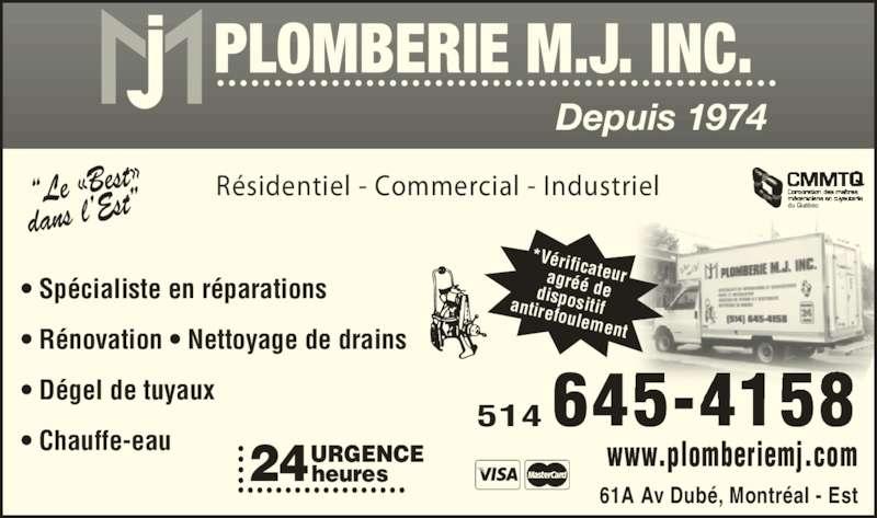 Plomberie M J Inc Horaire D Ouverture 61 A Avenue