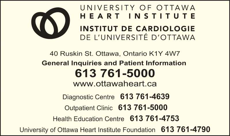 University of Ottawa Heart Institute (613-761-5000) - Display Ad -