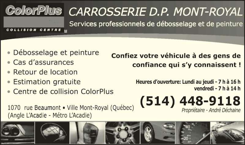 Carrosserie Dp Mont Royal (514-448-9118) - Annonce illustrée======= -
