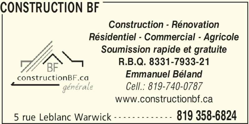 Construction bf horaire d 39 ouverture 5 rue leblanc for Subvention porte et fenetre quebec