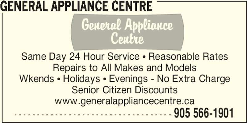 General Appliance Centre Opening Hours Mississauga On