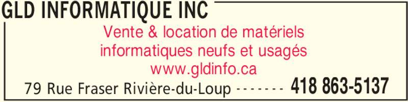 gld informatique inc horaire d 39 ouverture 79 rue. Black Bedroom Furniture Sets. Home Design Ideas