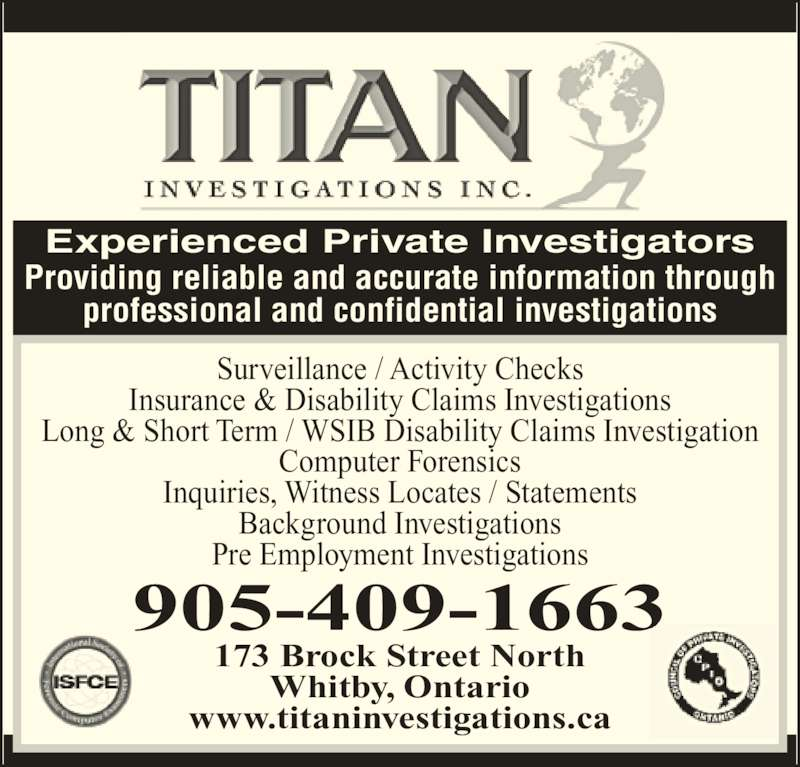 Titan Investigations Inc 173 Brock St N Whitby On