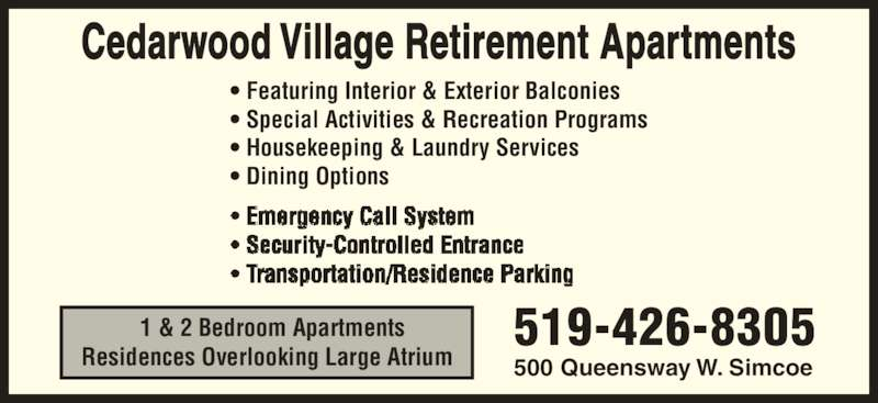 Ads Cedarwood Village Retirement Apartments & Nursing Home