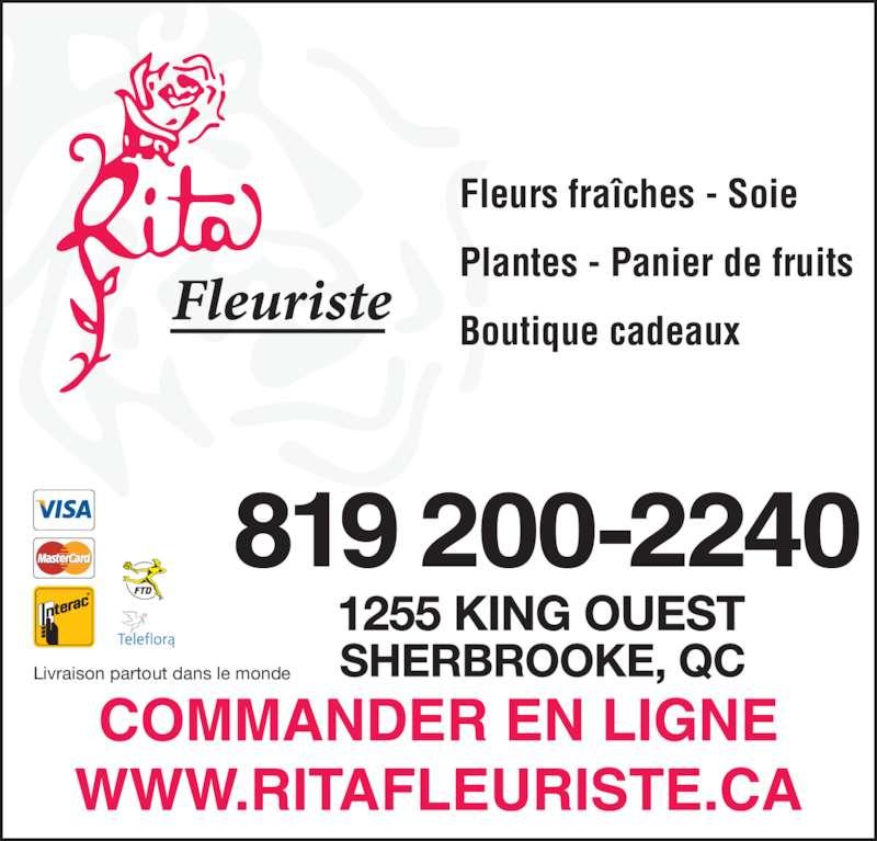 Rita Fleuriste Inc (819-563-4212) - Annonce illustrée======= - Livraison partout dans le monde Fleurs fraîches - Soie Plantes - Panier de fruits Boutique cadeaux