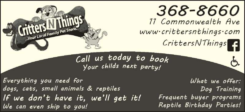Critter's N Things (709-368-8660) - Display Ad -