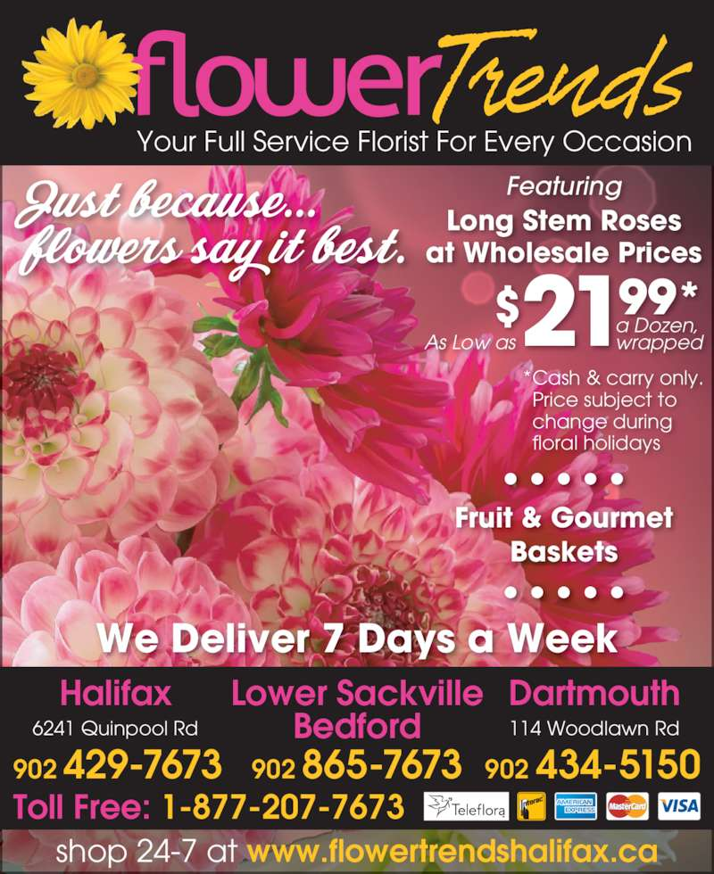 Flower Trends Florists Halifax Ns 6241 Quinpool Rd Canpages