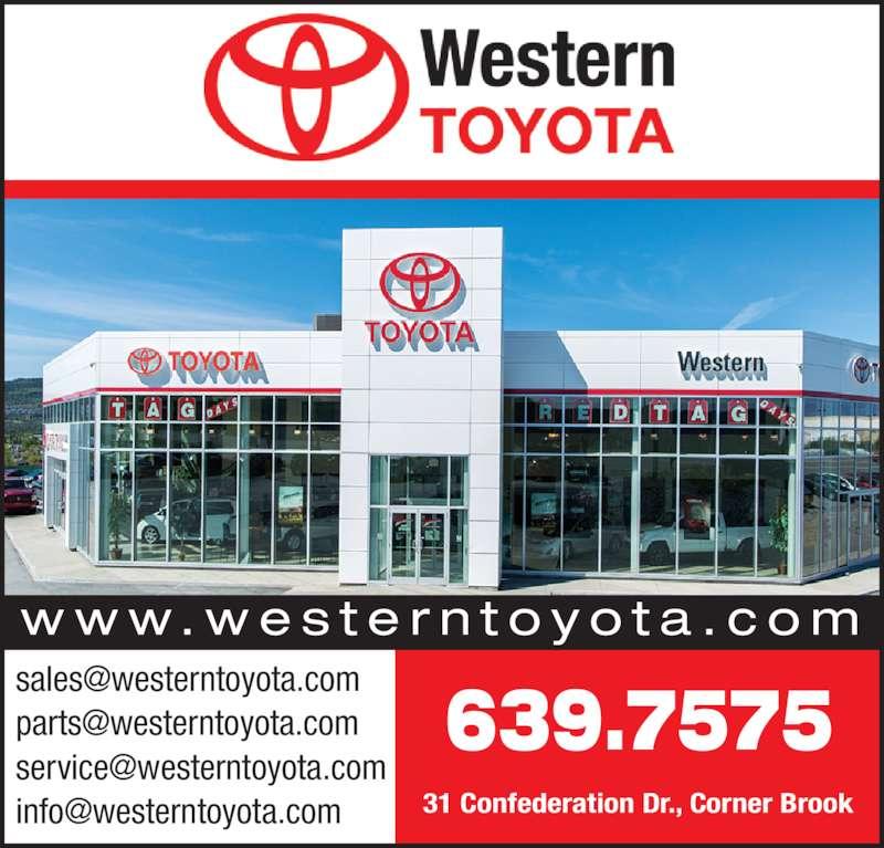 Western Toyota (709-639-7575) - Display Ad - w w w. w e s t e r n t o y o t a . c o m 639.7575