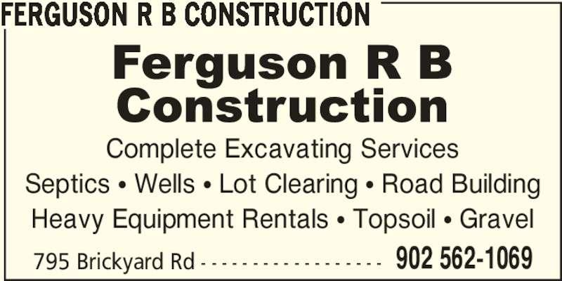Ferguson R B Construction (902-562-1069) - Annonce illustrée======= -