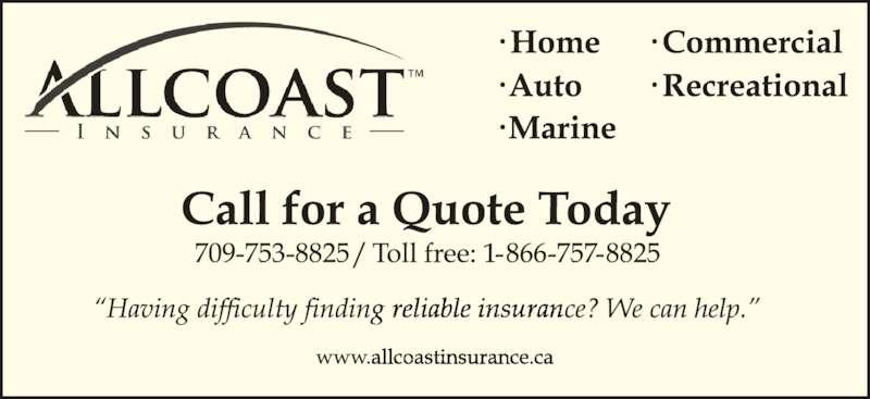 Allcoast Insurance Corporation (709-753-8825) - Display Ad -