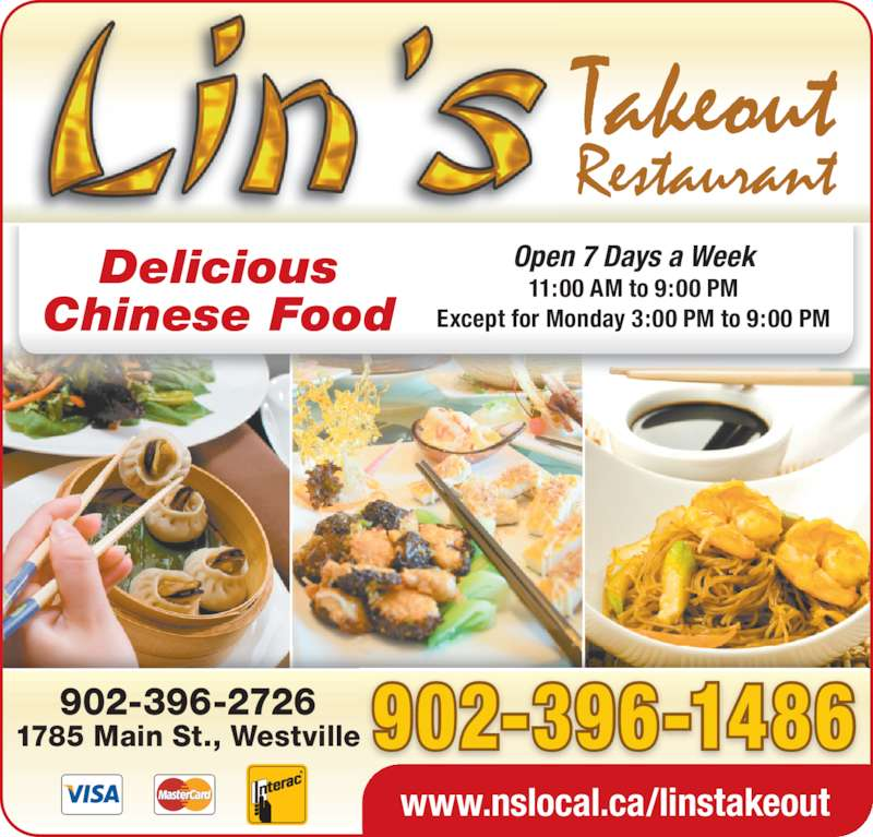 Lin's Takeout Restaurant (902-396-1486) - Display Ad -