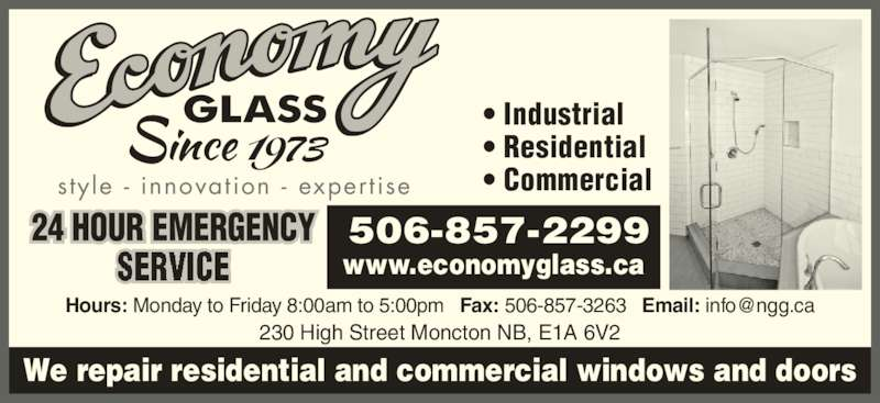 Economy Glass - Moncton, NB - 230 High St | Canpages