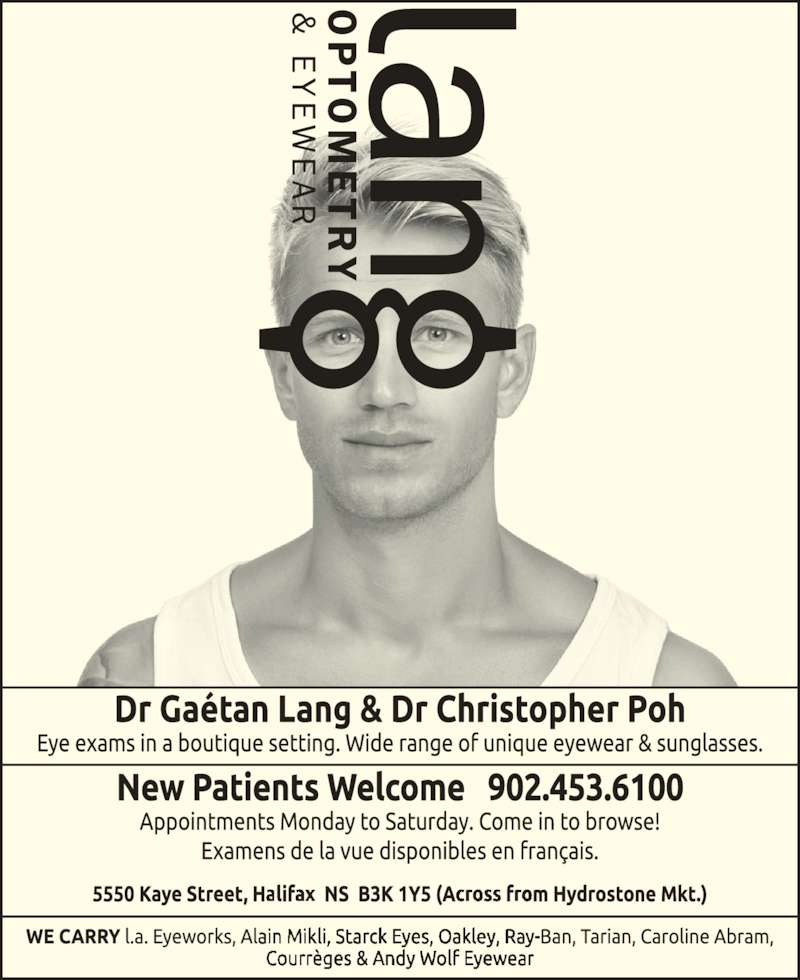 Lang Optometry & Eyewear (902-453-6100) - Annonce illustrée======= -