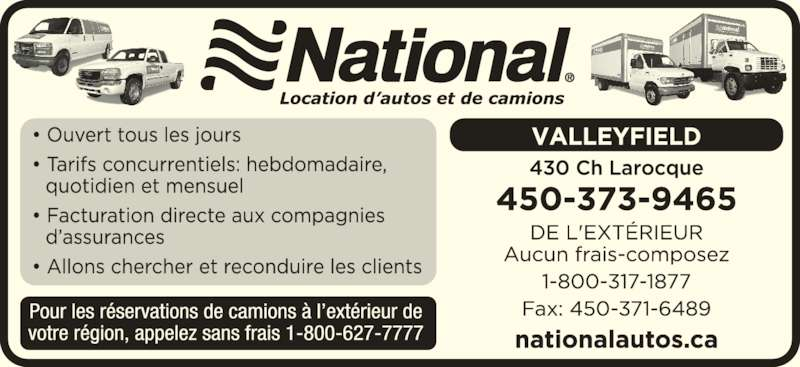 Location d'autos National (450-373-9465) - Annonce illustrée======= -