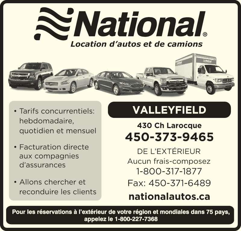 Location d'autos National (450-373-9465) - Annonce illustrée======= -