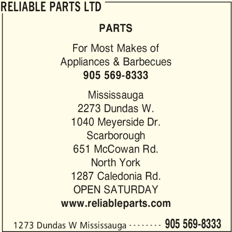 Reliable Parts Ltd Mississauga On 12 2273 Dundas St W