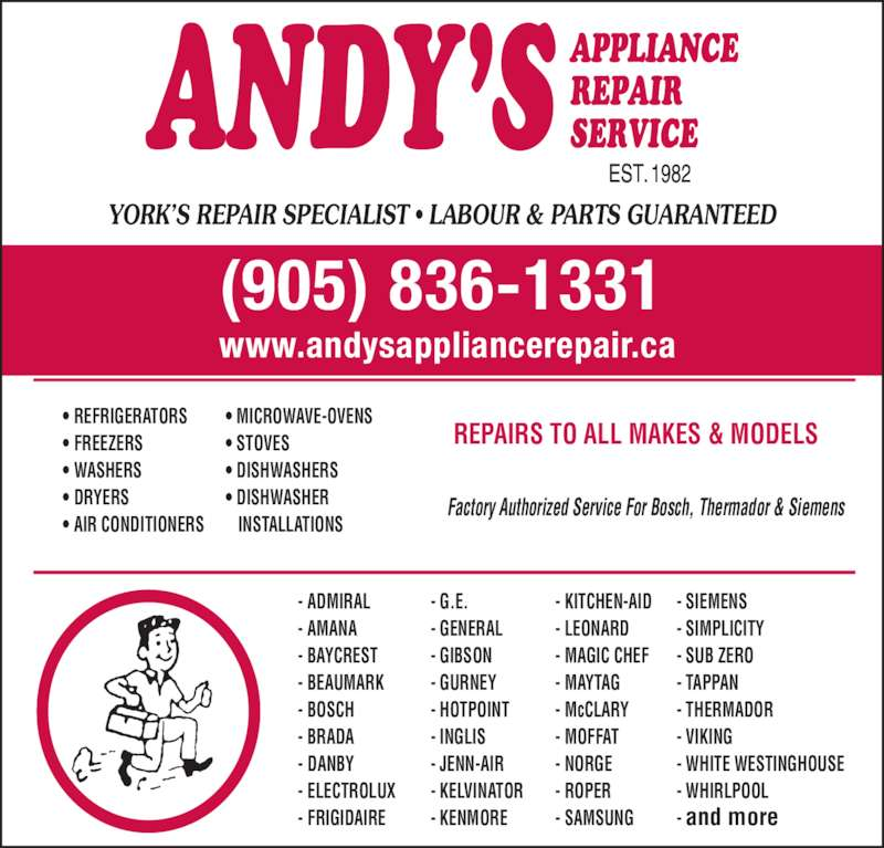 Dishwasher Repair Service : Andy s appliance repair service toll rd holland
