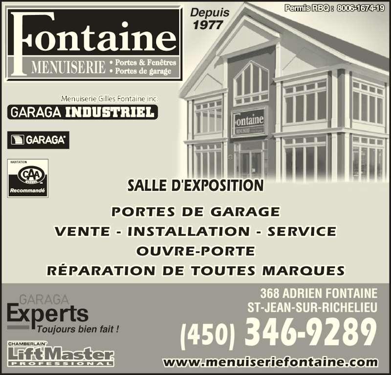 Menuiserie gilles fontaine inc horaire d 39 ouverture 368 for Porte et fenetre st jean sur richelieu
