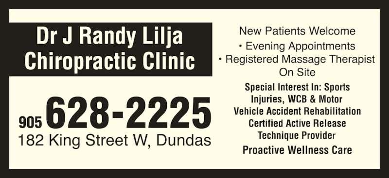 Lilja Chiropractic Clinic (905-628-2225) - Display Ad - 905