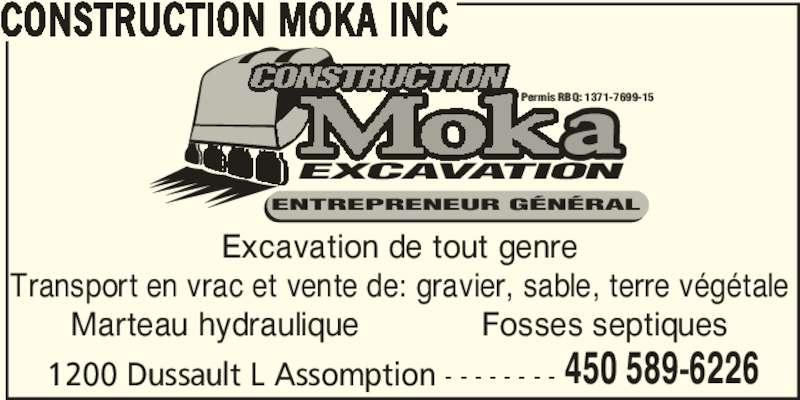 Construction Moka Inc (450-589-6226) - Annonce illustrée======= -