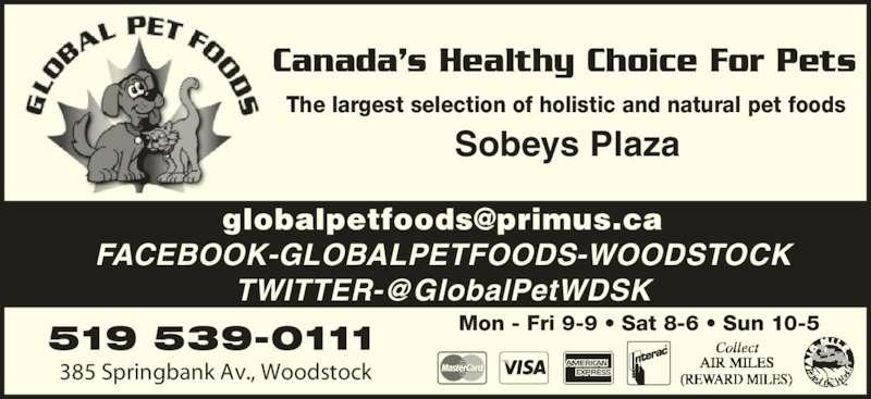 Global Pet Foods Opening Hours 385 Springbank Ave N