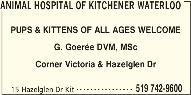 Animal Hospital Of Kitchener Waterloo 15 Hazelglen Dr