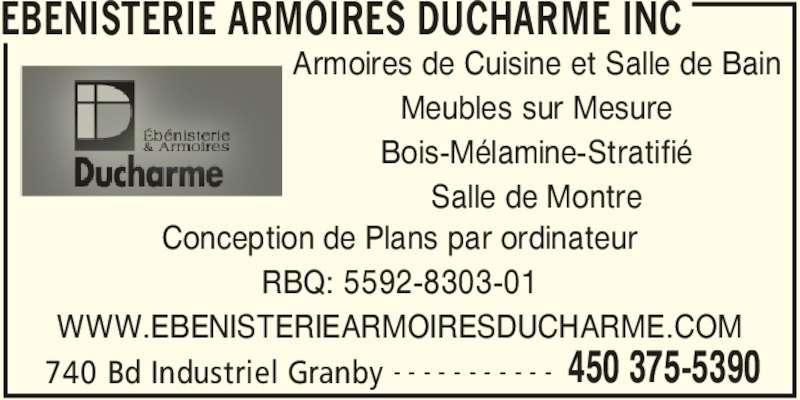 Ebenisterie armoires ducharme inc horaire d 39 ouverture for Armoire cuisine granby