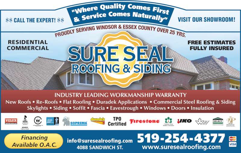 Sure Seal Roofing Amp Siding Opening Hours 4088 Sandwich St Windsor On