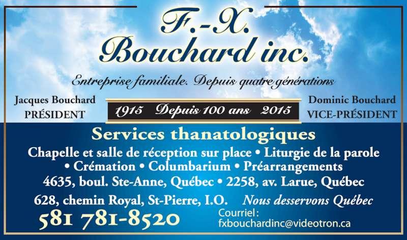 Résidences Funéraires F.X. Bouchard Inc (418-663-9838) - Annonce illustrée======= - Courriel :