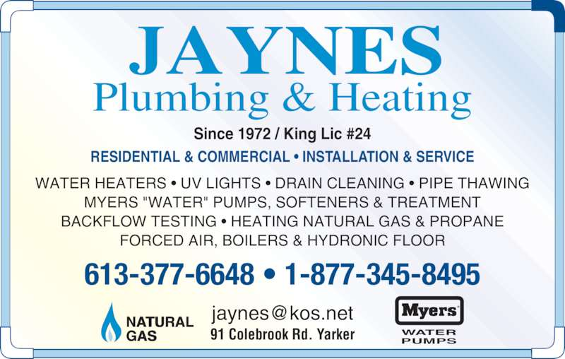 Jaynes Plumbing Amp Heating 91 Colebrook Rd Rr 1 Yarker On