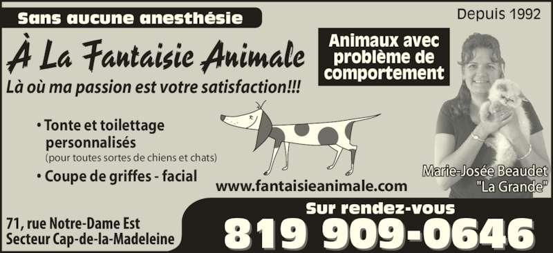 """A La Fantaisie Animale (819-909-0646) - Annonce illustrée======= - Sans aucune anesthésie Depuis 1992 • Tonte et toilettage    personnalisés • Coupe de griffes - facial Là où ma passion est votre satisfaction!!! Sur rendez-vous (pour toutes sortes de chiens et chats) Animaux avec problème de comportement Marie-Josée Beaudet """"La Grande""""www.fantaisieanimale.com À La Fantaisie Animale"""
