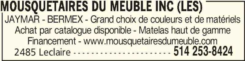 Les mousquetaires du meuble inc montr al qc 2485 rue for Meubles detaillants montreal