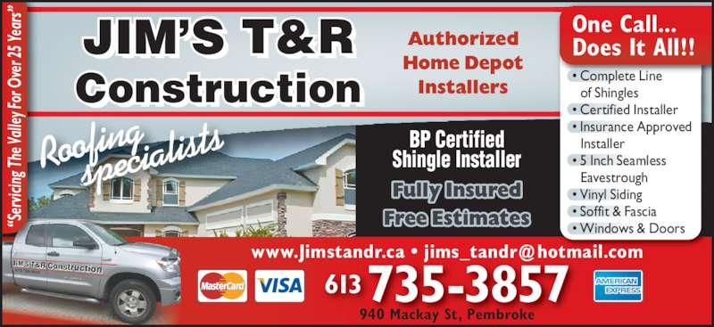 Jim S T Amp R Construction Ltd Opening Hours 940 Mackay St