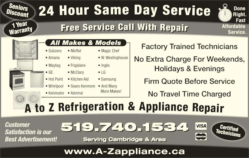 A To Z Refrigeration Amp Appliance Repair Opening Hours