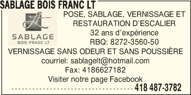 sablage bois franc lt alma qc 125 rue lapointe canpages fr. Black Bedroom Furniture Sets. Home Design Ideas