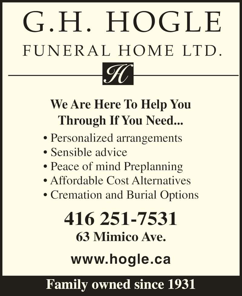 Hogle G H Funeral Homes Ltd Etobicoke On 63 Mimico