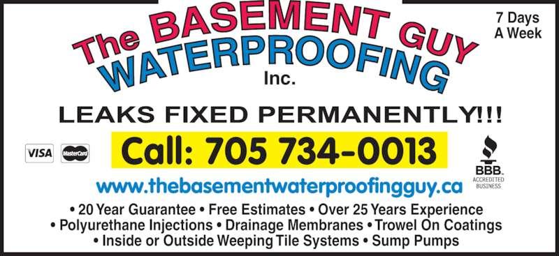 the basement guy waterproofing 705 734 0013 display ad
