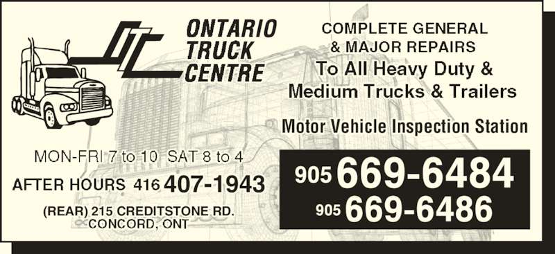 Ontario Truck Centre Concord On 215 Creditstone Rd Canpages