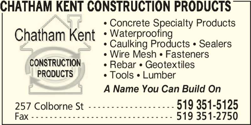 Chatham Kent Construction Products Opening Hours 257