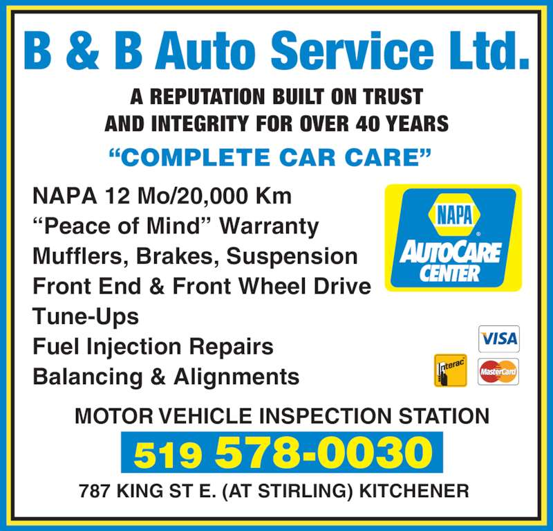 B B Auto Service Ltd Opening Hours 787 King St E